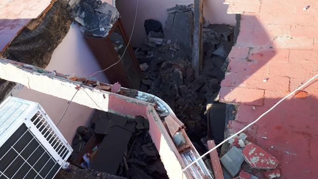 El techo del bloque afectado tras un derrumbe