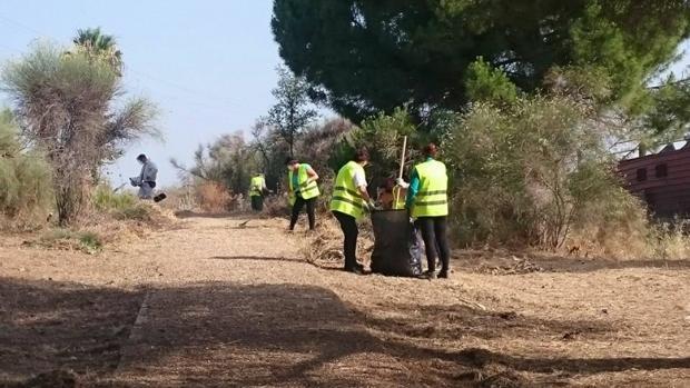 Varias personas limpian el entorno del Riopudio