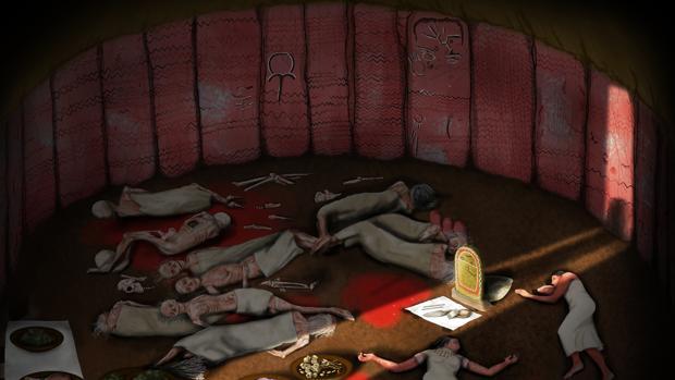 Una ilustración recrea el fallecimiento de un grupo de personas de la comunidad de Valencina