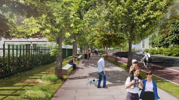 Recreación del paseo de Los Alcores, que conectará a los vecinos de Los Alcores, Ciudad Almar y Ciudad Expo