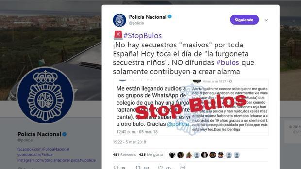 Mensaje de la Policía Nacional alertando sobre bulos