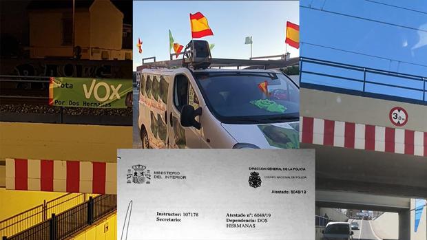 La pancarta robada y la furgoneta atacada junto a la denuncia interpuesta