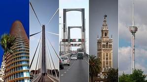 La Torre Pelli, los puentes del Alamillo y del Centenario, la Giralda y la Torre ABC