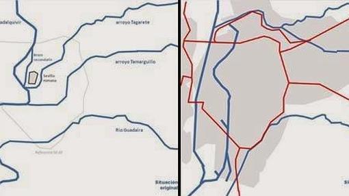 A la izquierda, Sevilla originalmente. A la derecha, los cambios actuales del río (en rojo, Se-30 y autovías)
