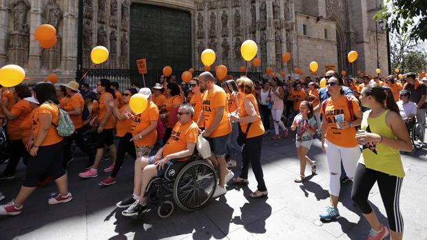 Manifestación este sábado en Sevilla de personas afectadas de ELA llegadas de toda España