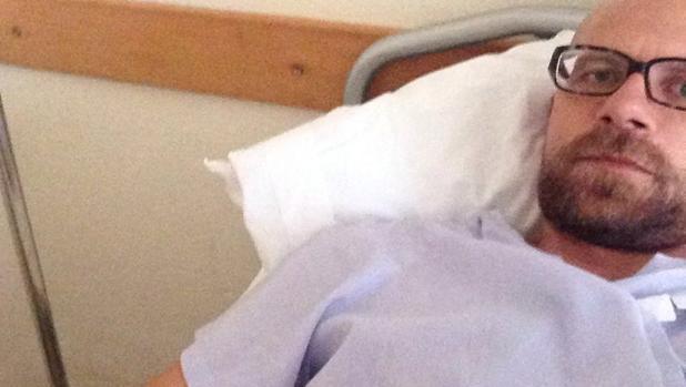 Melchor Sánchez, durante su estancia en el hospital