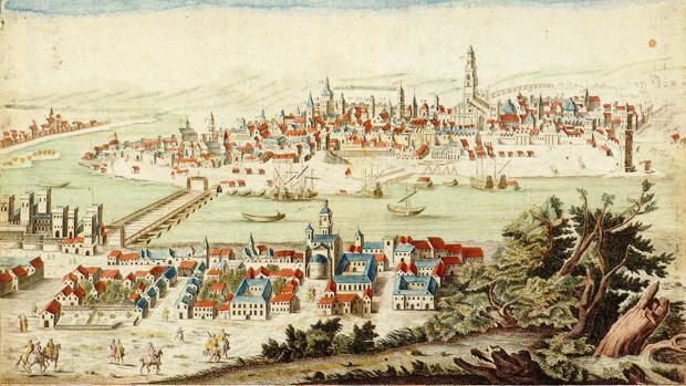 Vista de Sevilla desde Triana en un grabado de 1780