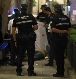 La Policía Local, en el lugar del crimen