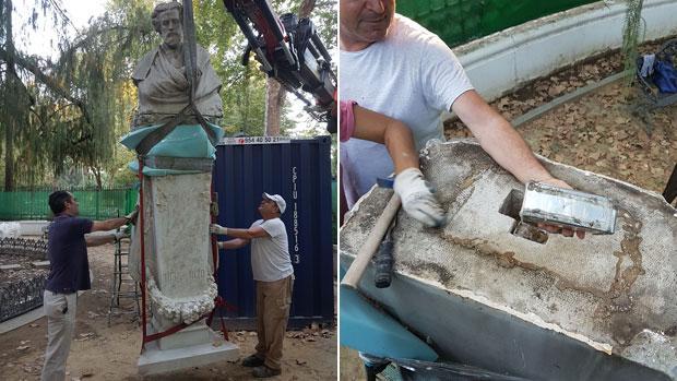 La escultura en el momento de ser izada y uno de los cofres depositado en su base