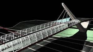Recreación virtual de la futura pasarela ciclopetaonal que cruzará la SE-30