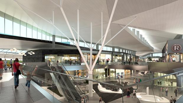 Recreación de la zona interior del centro comercial Palmas Altas