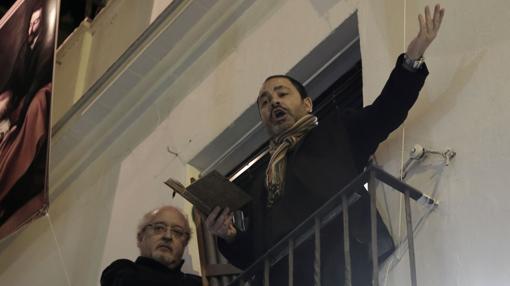 Momento del concierto de música antigua en uno de los balcones de la Abacería