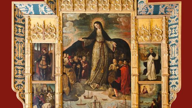 La Virgen de los Mareantes, pintada por Alejo Fernández, están el Cuarto del Almirante del Alcázar