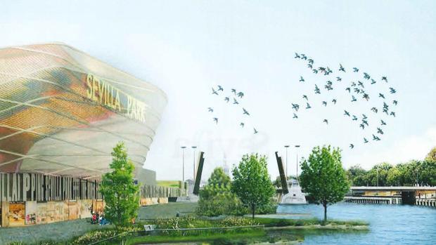 Infografía del proyecto Sevilla Park, con el auditorio a la izquierda