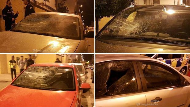 Algunos vehículos afectados por los golpes con una barra de hierro de un vecino de Las Candelarias