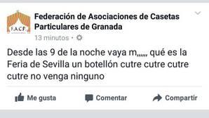 El polémico post en Fecabook contra la Feria de Sevilla de los caseteros de Granada