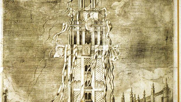 La Giralda engalanada con grímpolas y gallardetes en un grabado