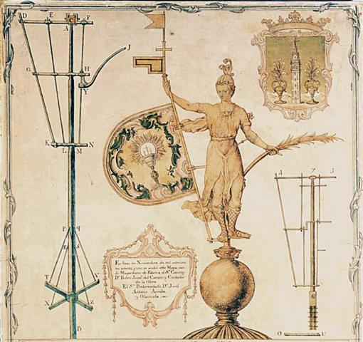 Dibujo realizado por Pedro Miguel Guerrero en 1770, con ocasión de una de las restauraciones