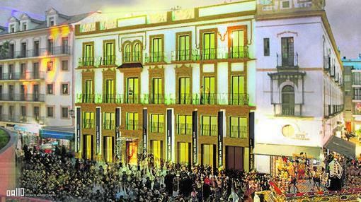 Recreación del futuro hotel que se construye en la Encarnación