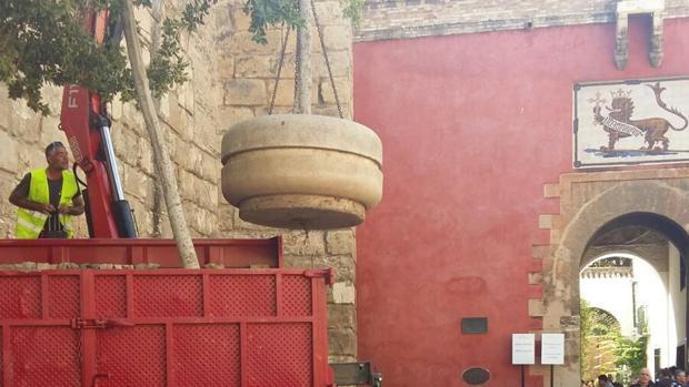 Instalación de los grandes maceteros ante las colas de turistas