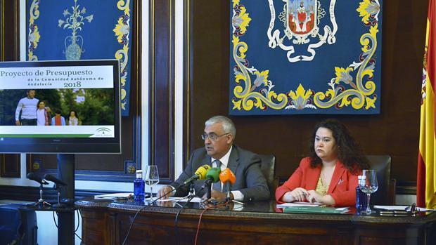 AntonioRamírez de Arellano y Esther Gil, presentando los presupuestos