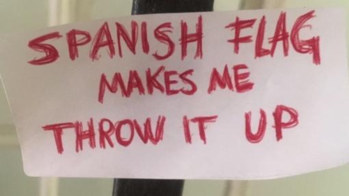 Pegatina con la leyenda en inglés «La bandera española me hace vomitar»
