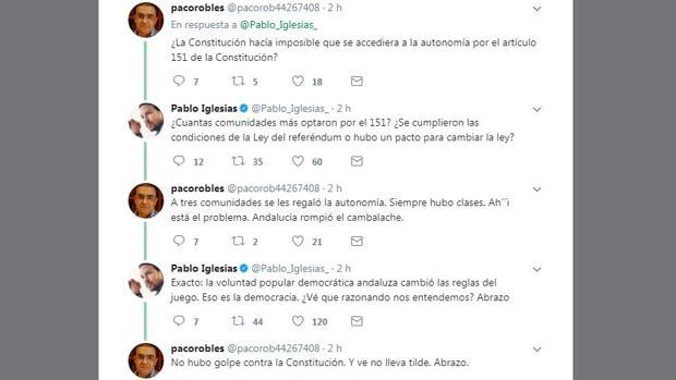 Extracto de los mensajes entre Pablo Iglesias y Paco Robles