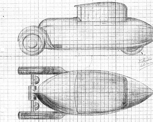 Bocetos del coche de tres ruedas que también diseñó Francisco Domínguez-Adame