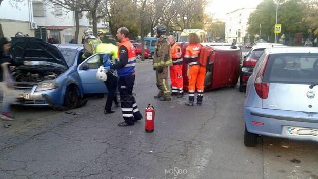 La conductora provocó un aparatoso accidente