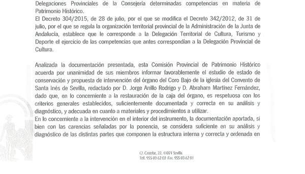 Dictamen de la Comisión de Patrimonio que da el visto bueno a la reparación del órgano