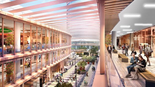 Imagen virtual de los dos edificios del centro comercial de Torre Sevilla