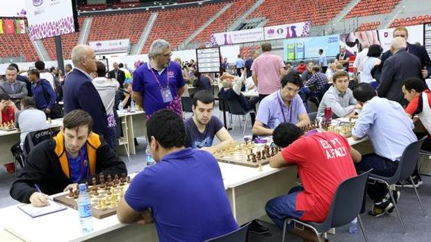 De izquierda a derecha: Grischuk, Nepomniachtchi, Kramnik y Karjakin
