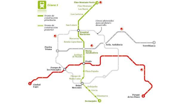 Mapa de las líneas del Metro de Sevilla