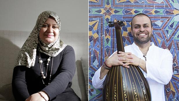 La libia Sarah Admed -a la izquierda- y el ingeniero y músico palestino Muhhanad Dughem