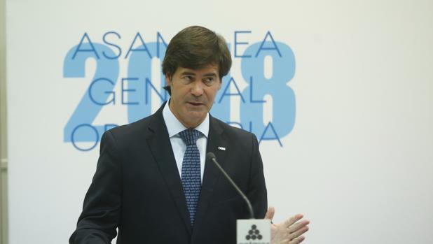 Miguel Rus, presidente de la Confederación de Empresarios de Sevilla, que este miércoles ha celebrado su asamblea general ordinaria