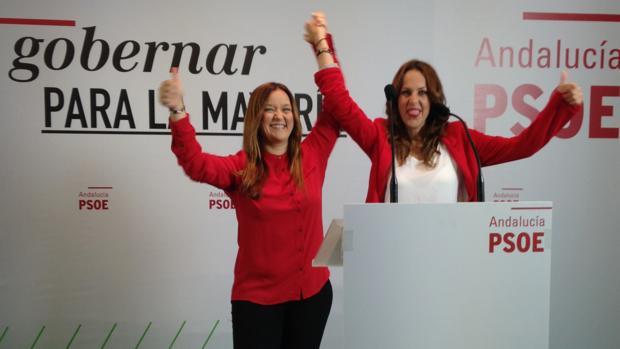 La secretaria del PSOE de Sevilla, Verónica Pérez, cuando proclamó candidata en Los Palacios a Belén Gayango