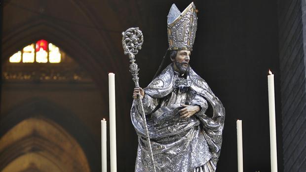 Imagen de San Isidoro durante el Corpus Christi de Sevilla