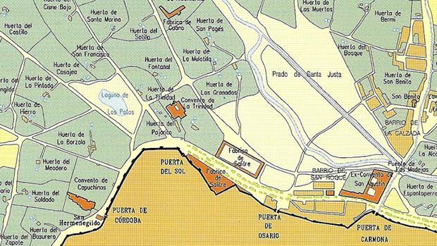 La «Laguna de los patos», en el margen izquierdo del mapa