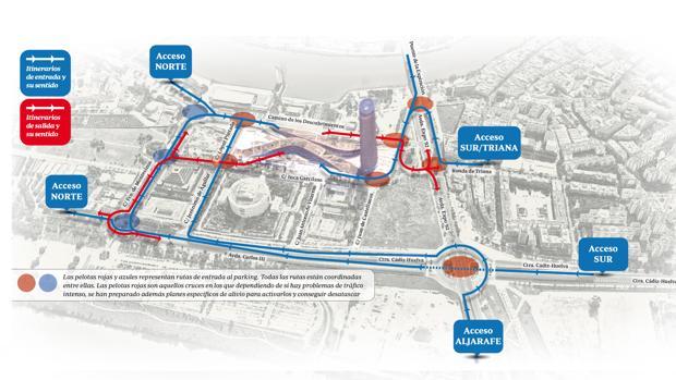 Plano de acceso al nuevo centro comercial de Sevilla