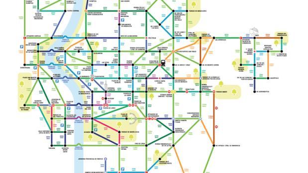 El mapa de la red de itinerarios para caminar por Sevilla