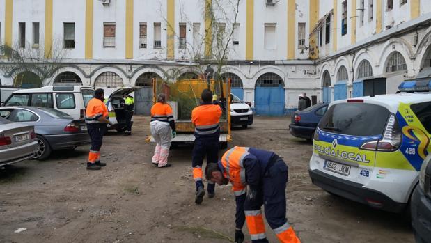 Los operarios de Lipasam han hecho una batida en el edificio que consta de protección