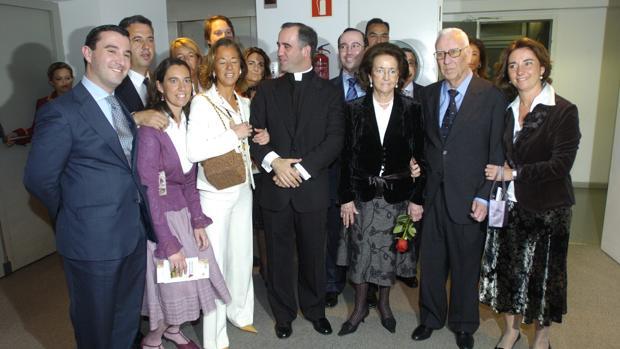 Manuel Jiménez Orta, segundo por la derecha, tras el pregón de su hijo Ignacio Jiménez Sánchez-Dalp
