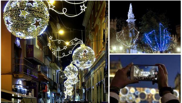 Calles de Sevilla iluminadas durante la Navidad