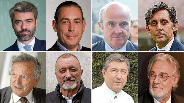 Luis Enríquez, Manuel Mirat, Luis de Guindos, José María Álvarez Pallete, Rafael Moneo, Arturo Pérez-Reverte, Joan Roca y Plácido Domingo
