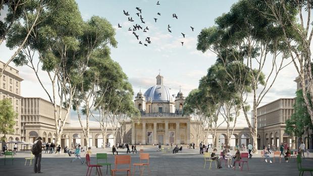 Recreación de la plaza de la Libertad de Pamplona con el Monumento a los Caídos