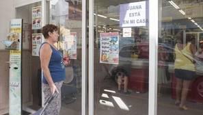 Un cartel solidario con Juana Rivas en la puerta un comercio de Maracena (Granada), que se ha volcado en solidaridad con su vecina