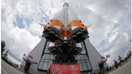 Imagen de un cohete Soyuz, expuesto en el Museo del Espacio, en Samara