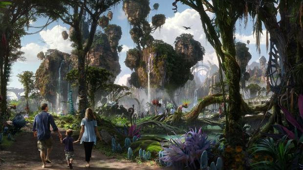 Dibujo cedido por Disney que ilustra la nueva atracción de Disney basada en el filme Avatar (2009), en el parque Animal Kingdom de Miami, Florida (EE.UU.)