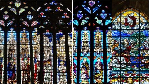 Detalle de varias de las vidrieras de la catedral de Sevilla