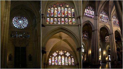 Tres rincones de la catedral de Toledo, con sus vidrieras